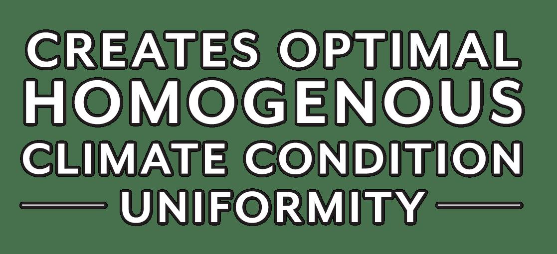 creates optimal homogenous climate condition uniformity
