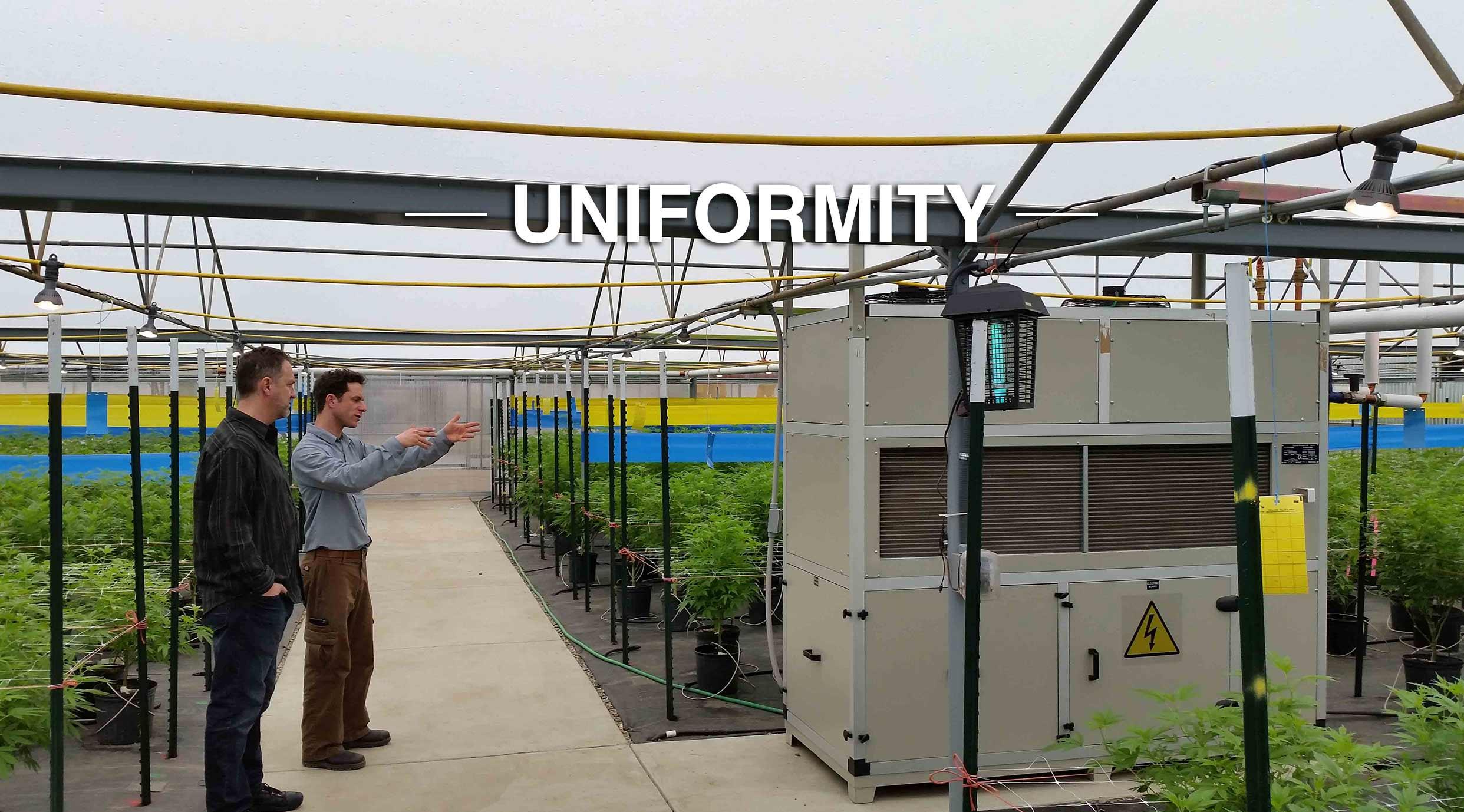 Drygair greenhouse dehumidifier uniformity