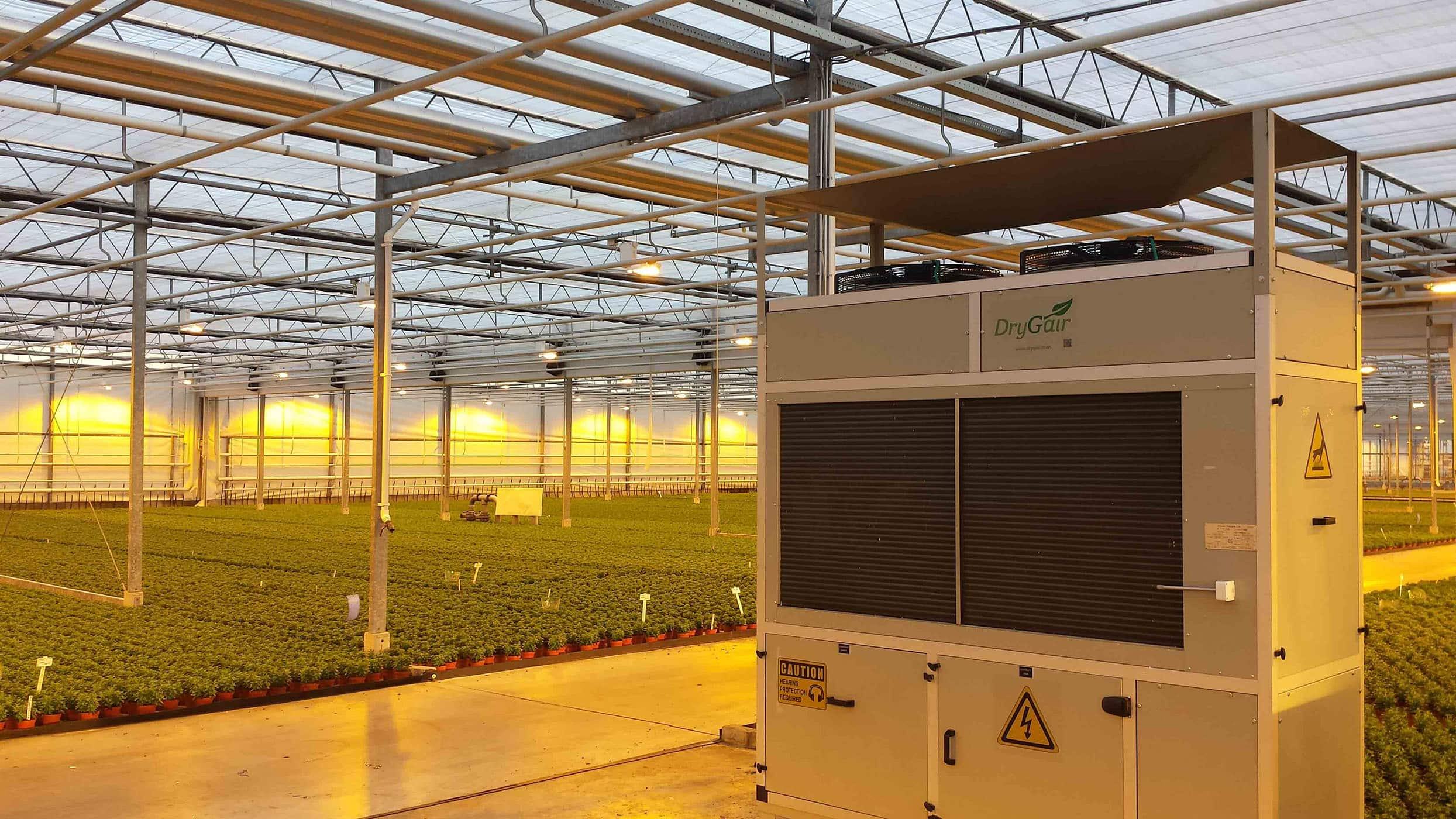 Drygair dehumidifier in greenhouse
