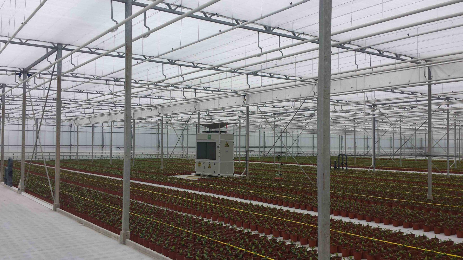 Drygair dehumidifier in herbs greenhouse