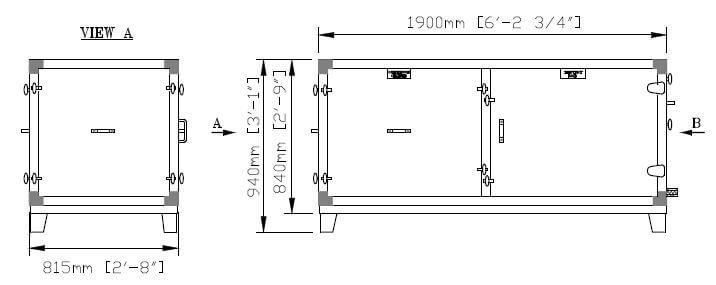 Dimensiones de Calefacción & Refrigeración de la Parte Inferior Dividida DG 12