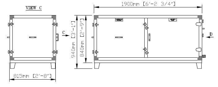 Dimensiones de la parte inferior dividida DG 12