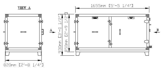 DG 6 Dividida Calefacción & Refrigeración Dimensiones Inferiores de la Pieza