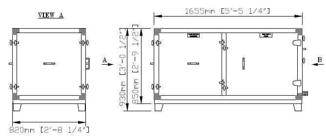 Dimensiones de la parte inferior dividida DG 6