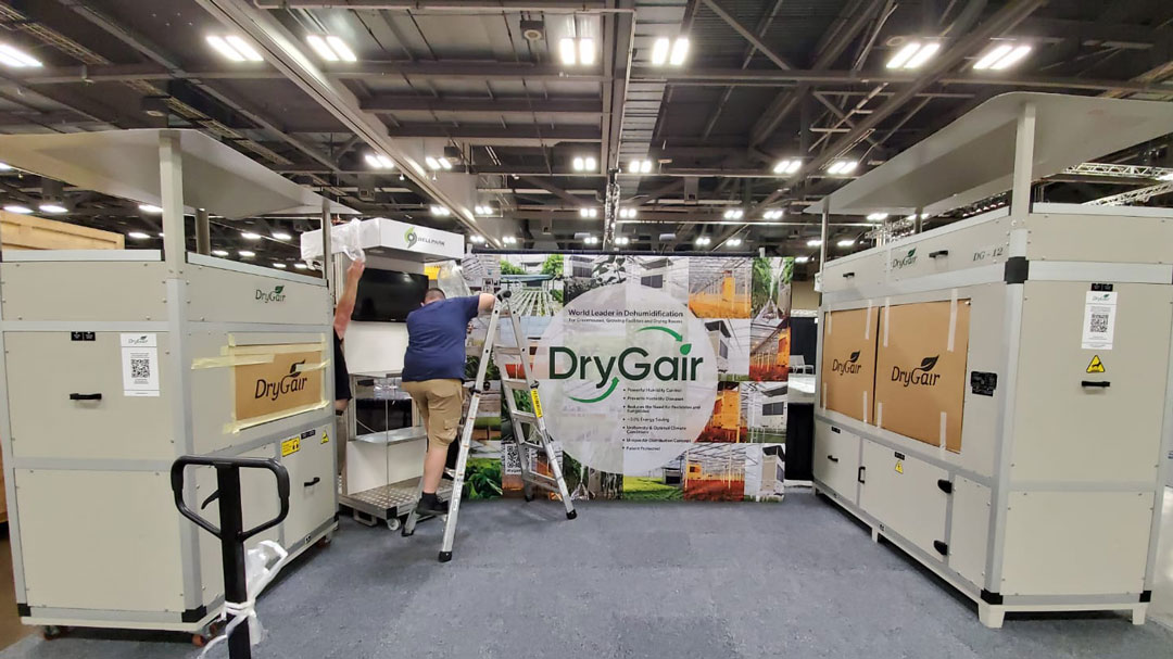 Cultivate 2021 - The DryGair booth setting up by Derek McLaughlin, Marketing Manager at Bellpark Horticulture
