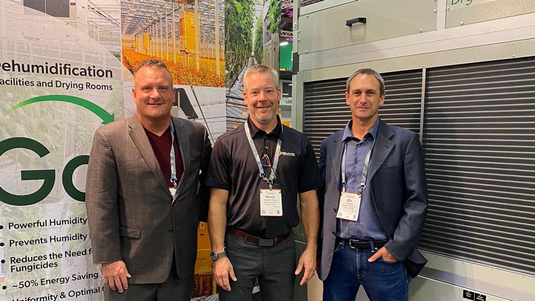 President of Bellpark Horticulture, Kevin Vander Ploeg, with DryGair VP Ziv Shaked and Steve Millett